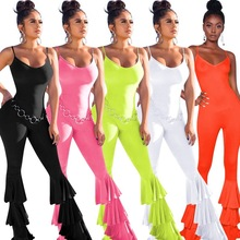 New Neon Colors Ruffles Flare Pants Jumpsuit Women Summer Spaghetti Strap Backless Sexy Rompers Female Bodycon Jumpsuit Overalls