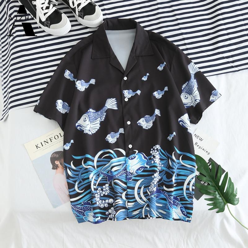 Men Japanese Ukiyo Carp Fish Printed Shirts Summer Casual Hawaiian Aloha Party Holiday Shirts Male Hip Hop Streetwear