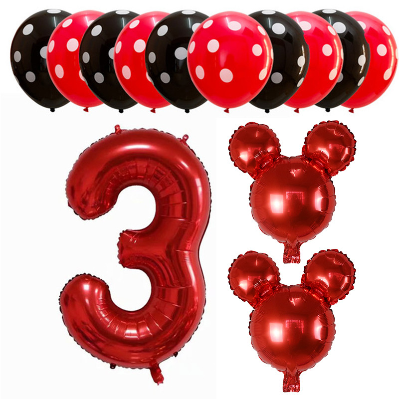 13pcs lot Mickey Minnie Mouse Head Balloon Cartoon Foil Kids Birthday Party Decorations Classic Toys Gift Baby Shower 1st Decor in Ballons Accessories from Home Garden