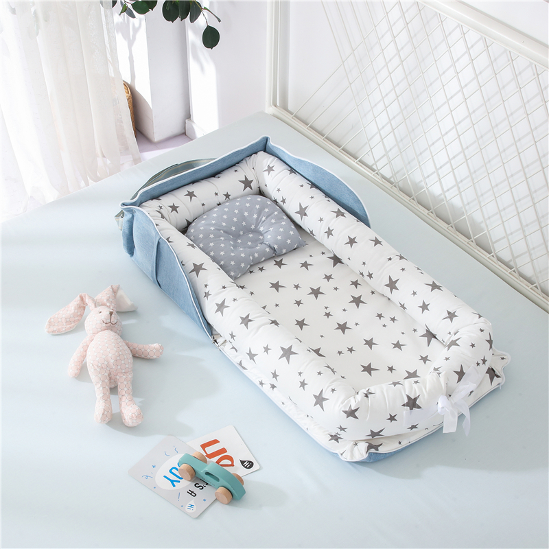Portable bed, middle bed, back can be stored, isolation, protection, removable and washable, shaped pillow case, newborn cotton