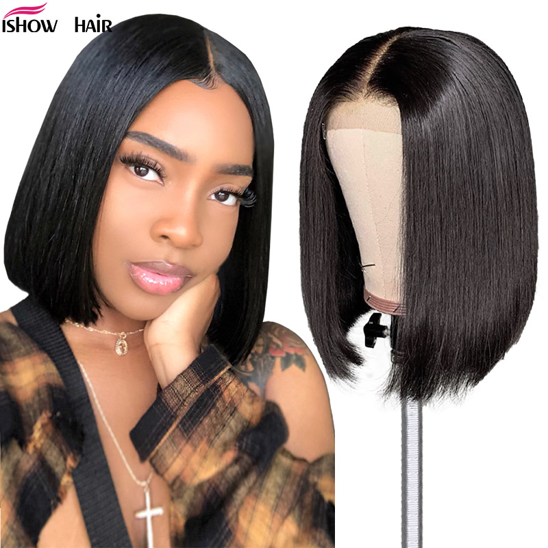Ishow Straight Short Human Hair Wigs 360 Lace Frontal Wig Straight Bob Lace Front Wigs Malaysian Lace Front Human Hair Wigs
