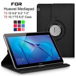 Вращающийся на 360 градусов чехол из искусственной кожи для планшета Huawei MediaPad T3 10 9,6 дюймов 8,0 7,0 дюймов