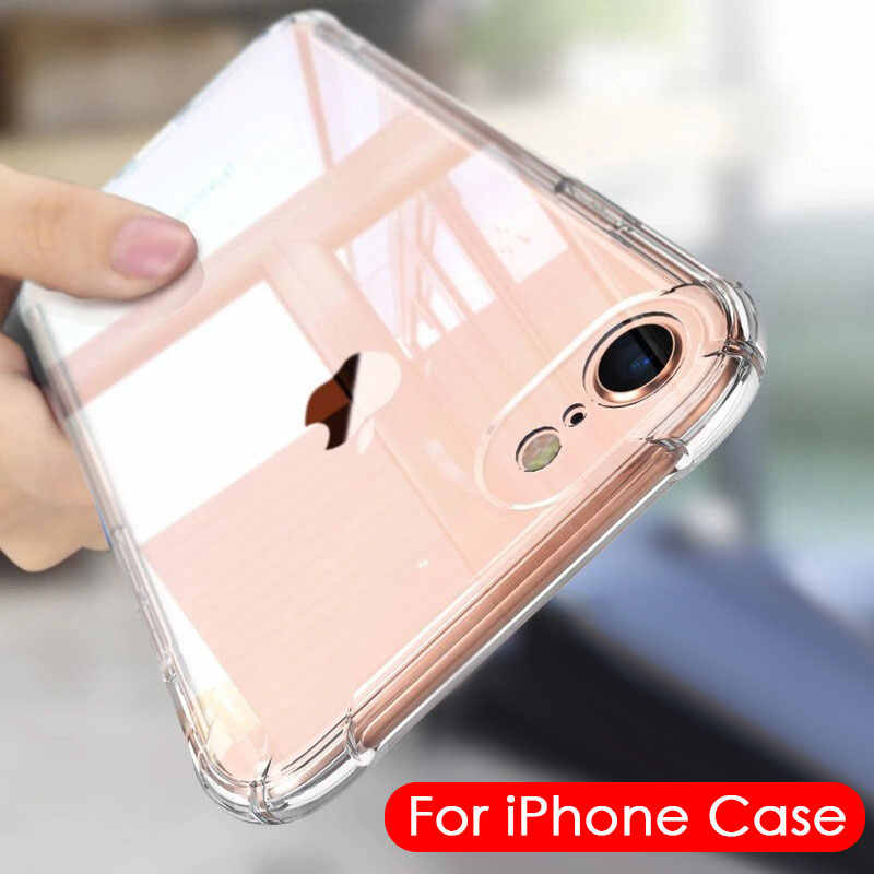Étui pour iPhone en Silicone Transparent souple 7 8 6 6S Plus 7plus 8plus XS Max XR 11 antichoc clair housse de protection iPhone 7