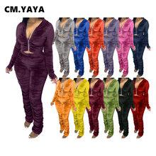 CM.YAYA jesień aksamitna ułożone zestaw damski bluzy z kapturem na zamek Ruched zestaw spodni dres sportowy dwuczęściowy strój aktywny Sweatsuit