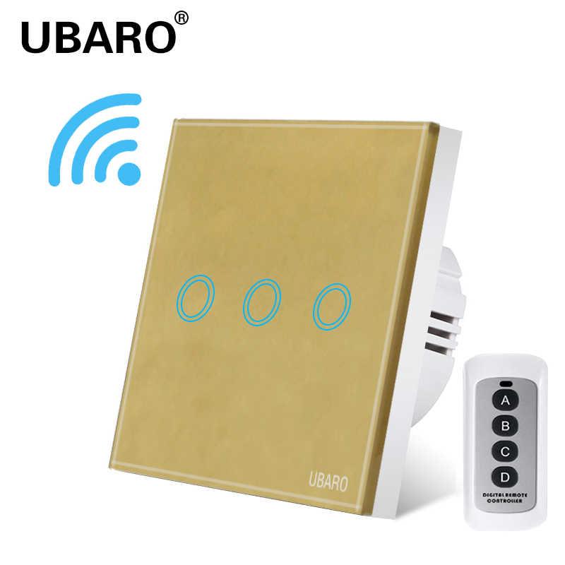 Ubaro Eu/Uk Draadloze Afstandsbediening Switch Black Crystal Glass Panel Smart Home Wandlamp Lamp Controller Schakelaars 1/2/3Gang