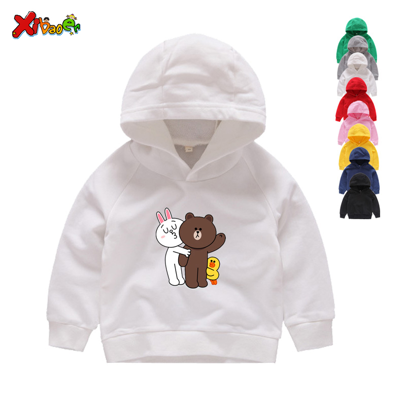 Kids Winter Hoodies Sweatshirts Kids' Premium Cotton Hoodies Fashion Cute Cartoon Bunny Rabbit Print Pattern Sweatshirts 2T-8T