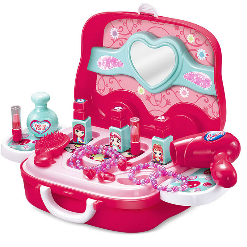 Kids Makeup Set Toys Suitcase Hairdressing Cosmetics Girl Toy Plastic Safety Beauty Pretend Play Children Girls Makeup Game Gift