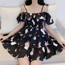 Backless Off Shoulder Loose A-line Vintage Dress Women Spaghetti Strap Black Pink Kawaii Dress Print Floral Mini Ladies Dresses pink floral print spaghetti flap over detail bodysuit swimwears