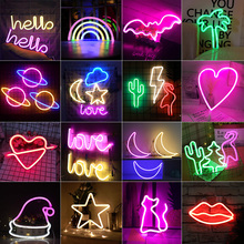 Wall-Lamp Art-Decorative-Lights Neon-Sign Holiday-Lighting Plastic Xmas-Party Baby Kids