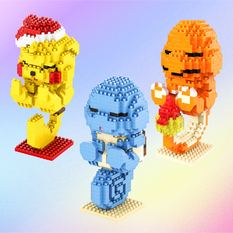 547pcs+ Pokemoned Mirco Blocks Cute Sleeping Pikachuly Charmander Squirtle Anime Building Bricks Figures Toys For Children 1