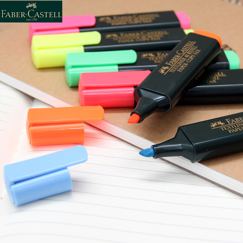6Pcs Faber Castell Textliner Highlighters Marker Pen  1548 Red/Blue/Yellow/Pink/Orange/Green Colors For Chose Wrting Supplies