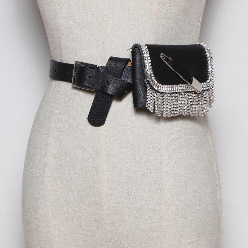 2020 Hot Sale New Design Leather Belt Bags For Women Fashion Shiny Rhinestone Embellished Waist Bag Female Stylish Bag ZL108