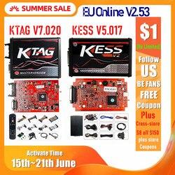 2020 Онлайн Красный V2.53 KESS V5.017 V2 KTAG V7.020 V2.25 4LED No Token OBD2 Manager K-TAG 7,020 KESS V2 ECU Upgrade Programmer