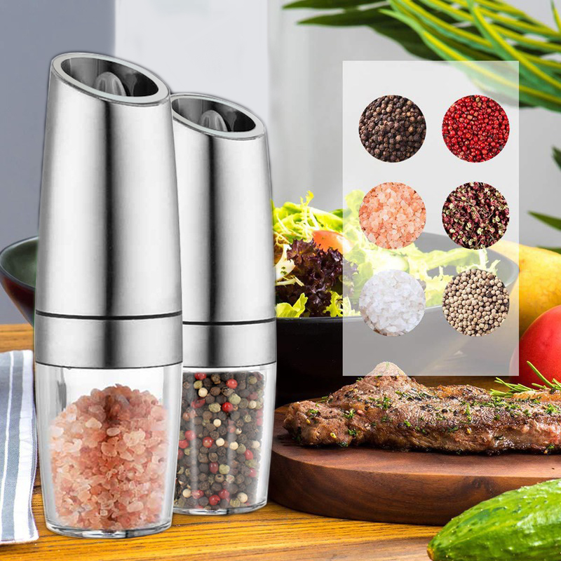 2pc Electric Automatic Mill Pepper and Salt Grinder LED Light Peper Spice Grain Mills Porcelain Grinding Core Mill Kitchen Tools