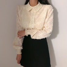 Alien Kitty 2020 Newest Women Lace Patchwork Long Sleeve Shirts Sexy OL Solid Vintage Jacquard Loose Lapel Blouse Shirt Tops