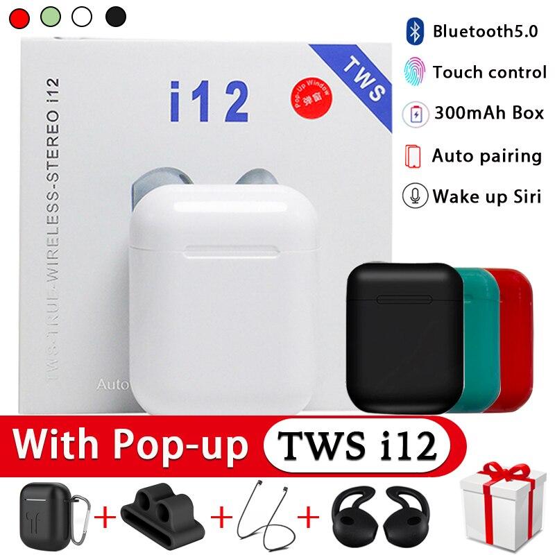 I12 TWS Original True Wireless Bluetooth Earphones Sport Earbuds With Earphone Accessories Bluetooth Earphones For I9s I10 TWS