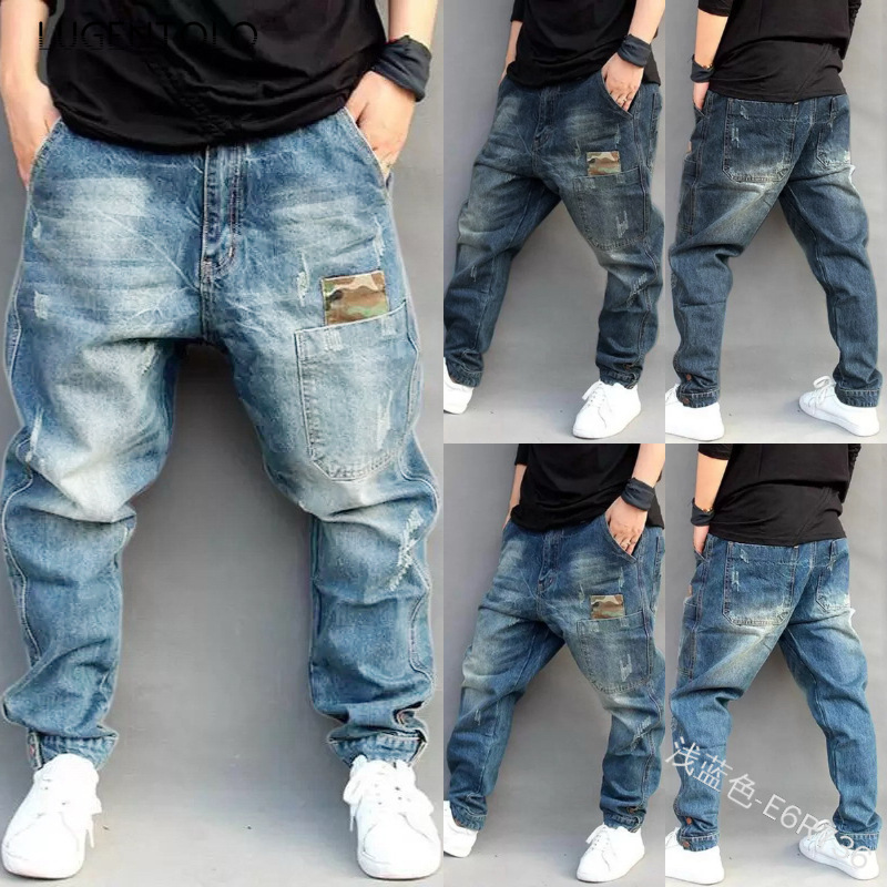 Lugentolo Mens Jeans Harem Pants Hip Hop Mid Loose Medium Zipper Fly Full Length Plus Size Little Feet Ripped Jeans For Men