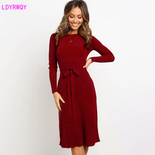 2019 new autumn and winter European and American women's round neck long-sleeved casual solid color elastic lace-up dress 2019 autumn and winter new european and american women s round neck long sleeved printed lace slim a line dress