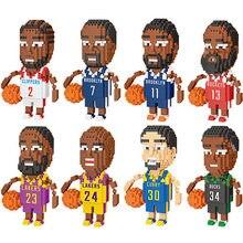 Mini yapı taşları tuğla oyuncaklar karikatür basketbol karakter modeli eğitici blok oyuncaklar çocuklar için
