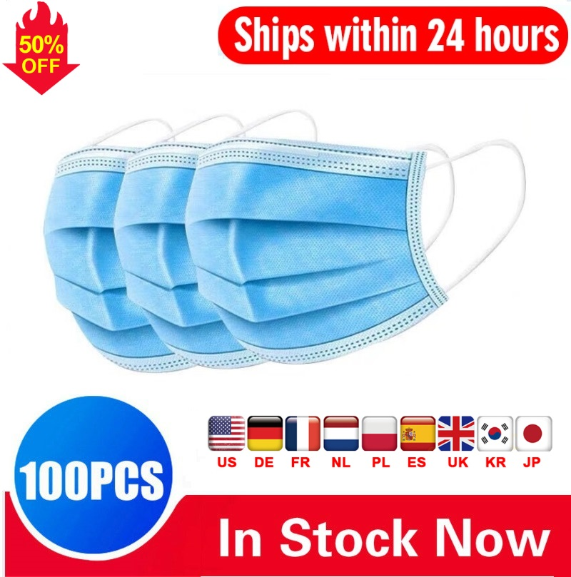 DHL Fast 100pcs Anti-Pollution 3 Laye Mask Dust Protection Masks Disposable Face Masks Elastic Ear Disposable Safety Mask