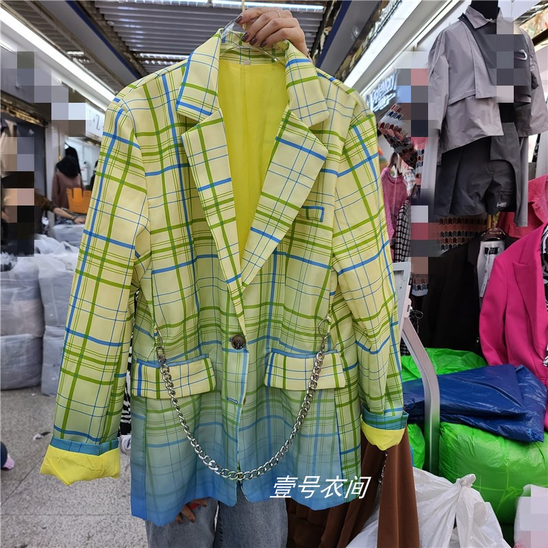 Nancylim Women's Coat 2020 Autumn New Female Personality Gradient Color Plaid Printing Loose Suit Jacket Fashion Lady Blazer