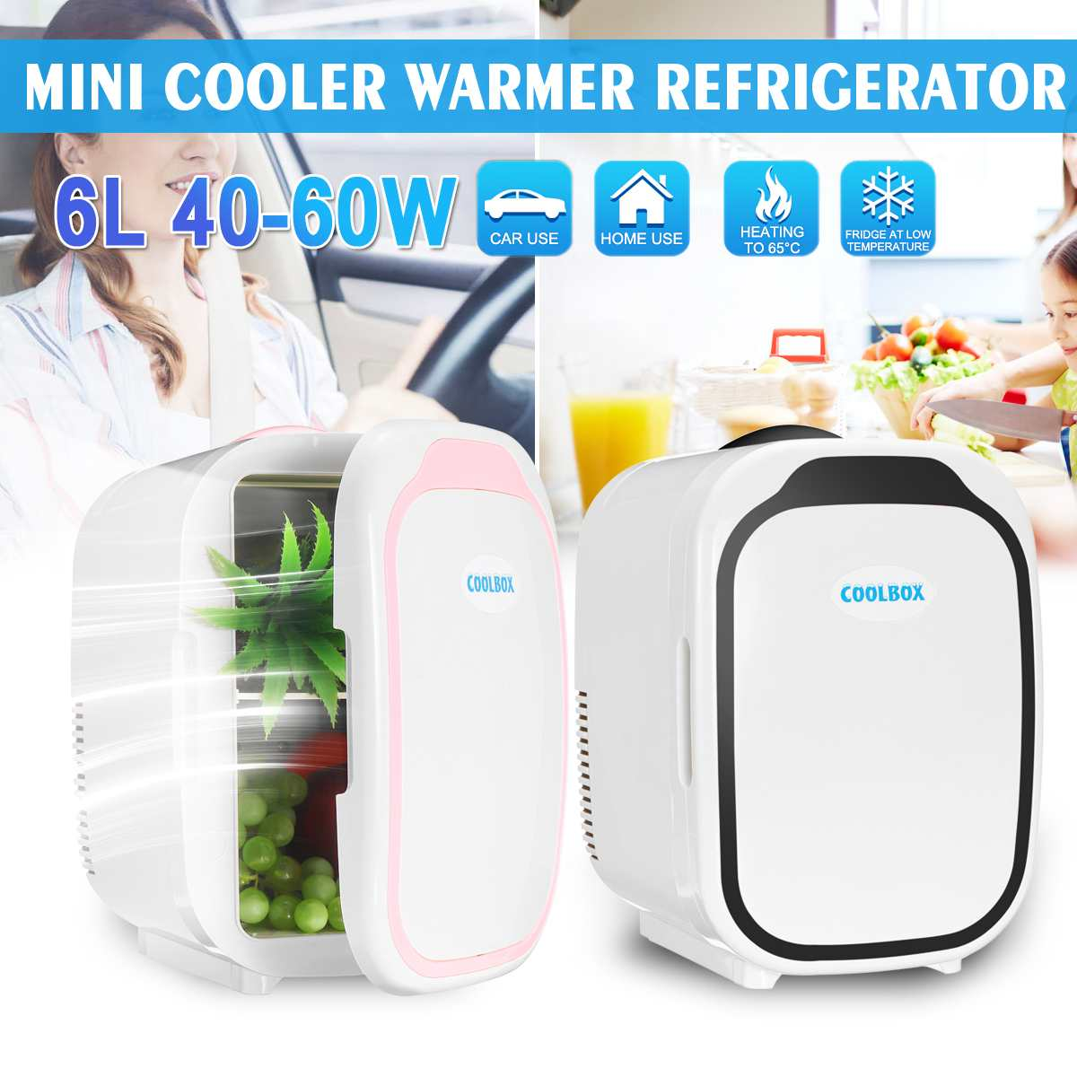 6L Mini Fridge Car Dual-Use Quiet Refrigerators Low Noise Car Refrigerators Travel Freezer Cooling Heating Box Fridge