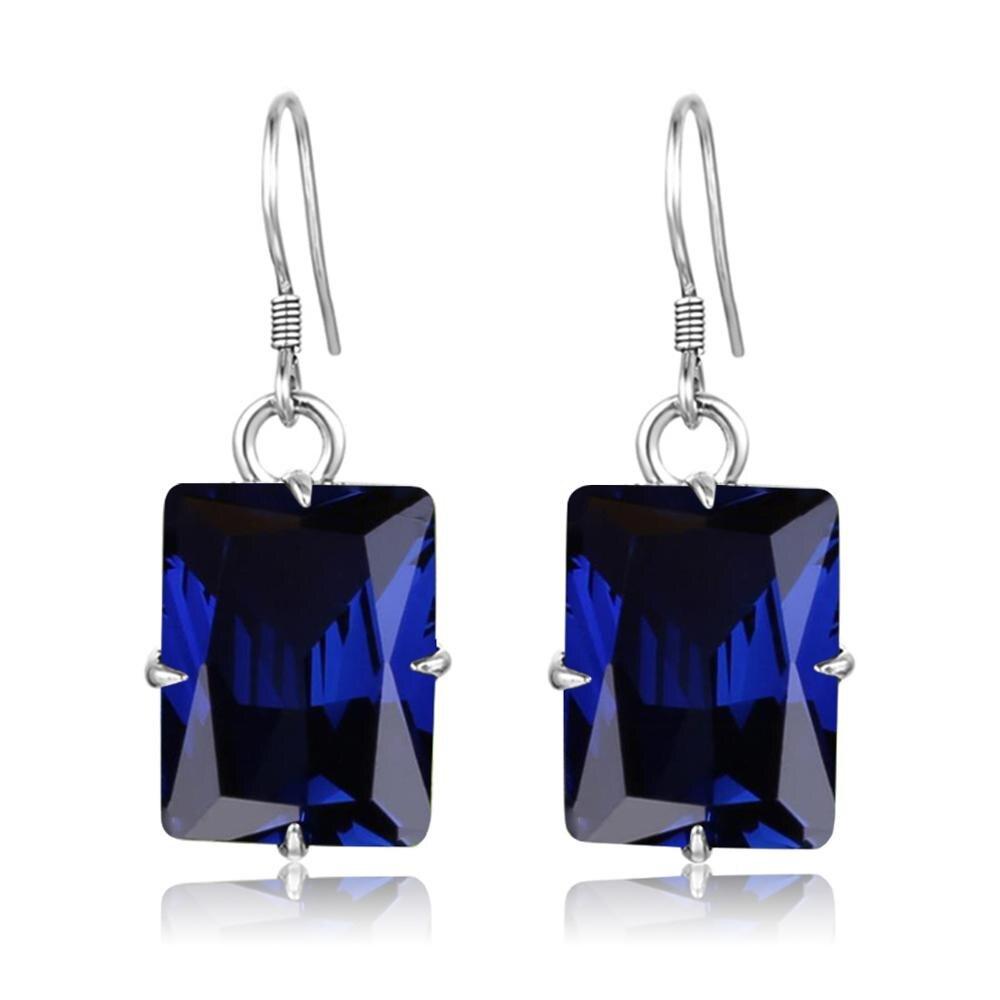 Szjinao bleu saphir femmes boucles doreilles or platine en argent Sterling boucles doreilles pierre précieuse forme carrée célèbre marque bijoux usine