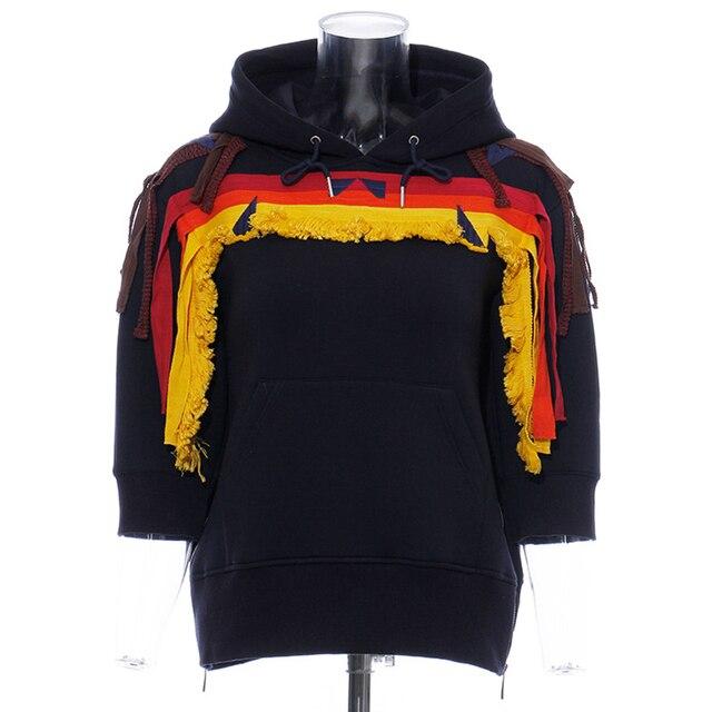 TWOTWINSTYLE Patchwork Embroidery Women s Sweatshirt Hooded Long Sleeve Pullovers Streetwear Female Sweatshirts Fashion New