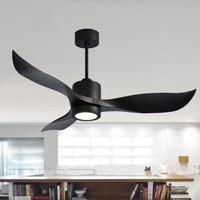 LED Black/white Industrial Vintage Ceiling Fan Wood Without Light Wooden Ceiling Fans Decor Remote Control DC 90 260V
