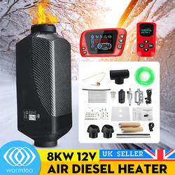 Metal Shell 12V 8KW Car Heater Air Diesel Heater Triple Air Outlet Heating Fan LCD Display With Oil Extractor For Boat Bus