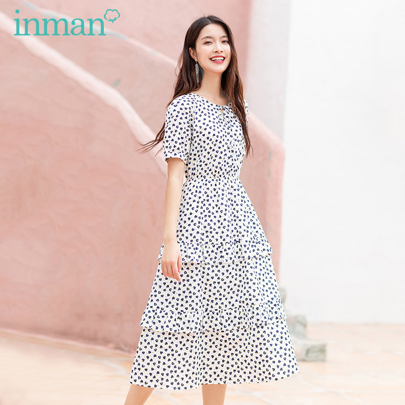 INAMN Summer New Arrival Cotton Material Bow Tie Bubble Fit Shaped Sweet Cake Shaped Dress