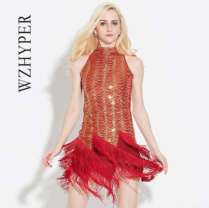 שמלת ריקוד לטיני נשים לטיני ריקוד זהב כסף Bule אדום שחור לטיני עבור ביצועים מבריק לטיני סלסה שמלת פרינג' שמלה