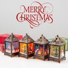 Christmas Decorative Lamp Vintage Hollow Out Hanging Lantern Desktop Night Light For Xmas Decor