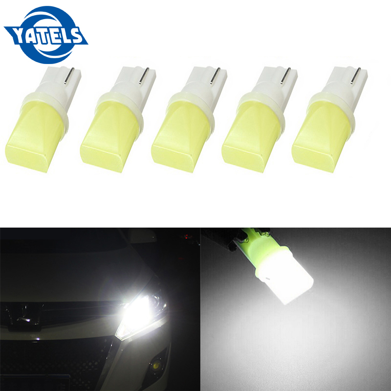 5 PCS T10 COB 3D 3W W5W 194 168 LED Canbus Error-free Side Wedge Bulbs License Plate Lamp Post White Light 12V Auto Parts