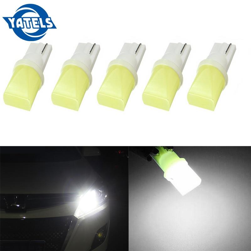 5 PCS T10 COB 3D 3W W5W 194 168 LED Canbus Error-free Side Wedge Bulbs License Plate Lamp Post White Light 12V Auto Parts