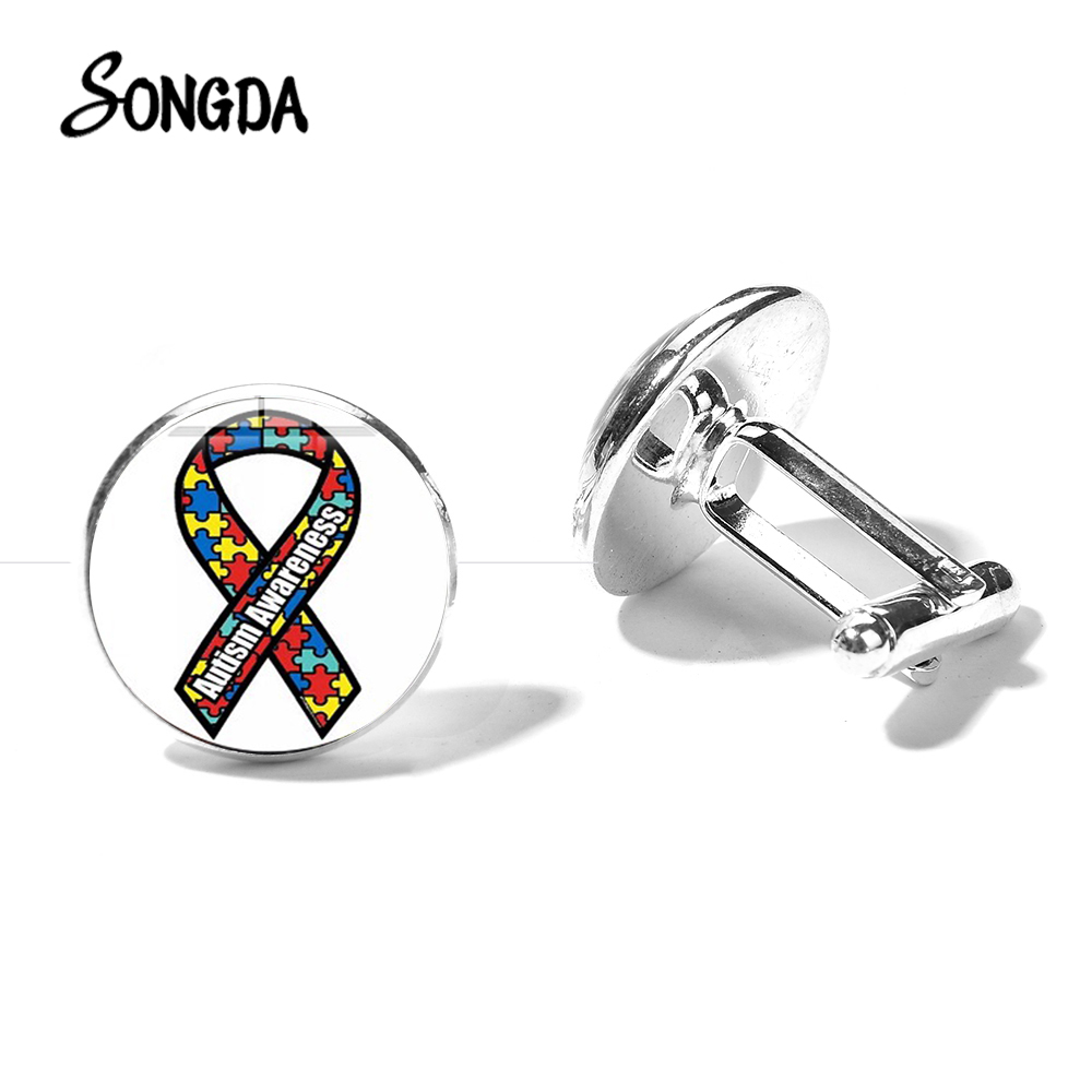 SONGDA New Arrival Autism Awareness Cufflink Puzzle Piece Ribbon Print Glass Photo Silver Bronze Color Cufflinks Hopeful Jewelry