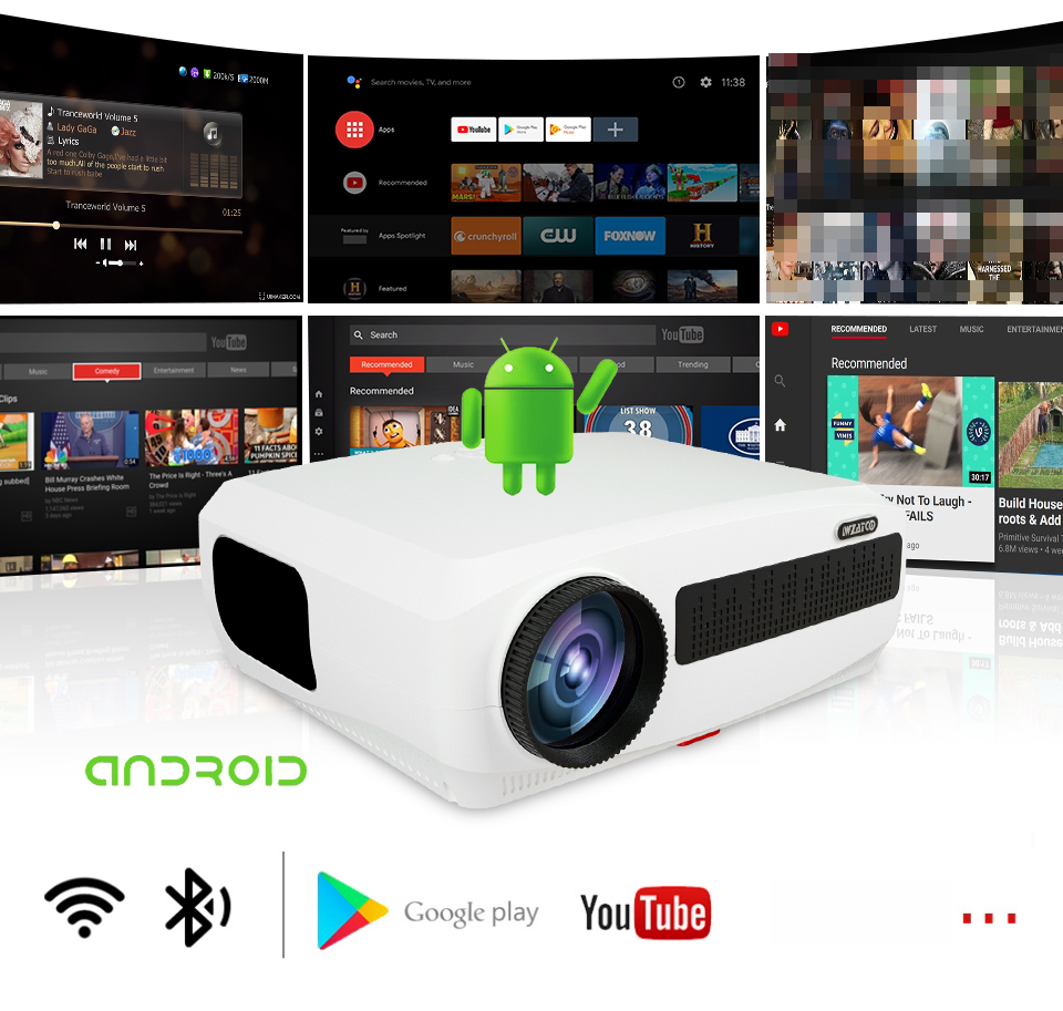 WZATCO C3 LED Projector Built-in Android 9.0 WIFI Full HD 1080P 300 inch Big Screen Proyector 3D Home Theater Smart Video Beamer