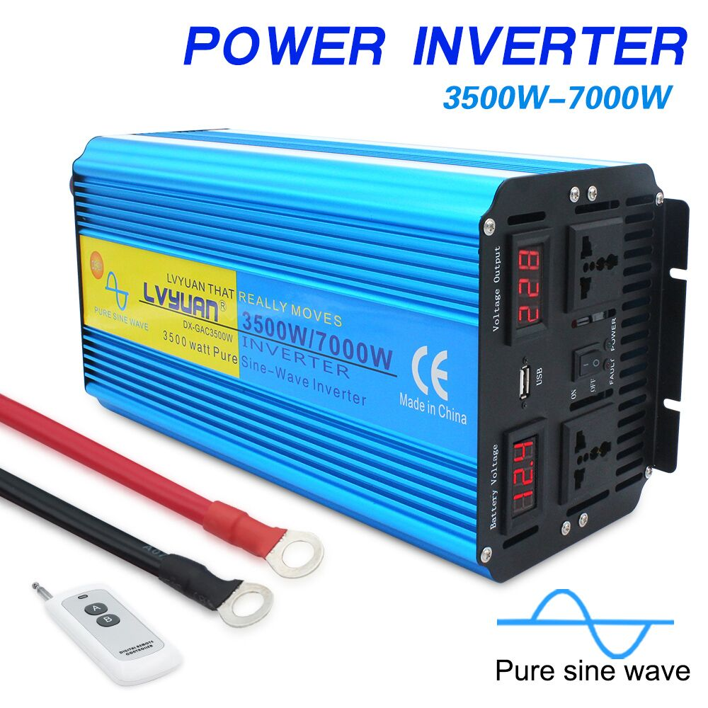 7000W pure sine wave power inverter DC 12V 24V TO AC 220V 230V 240V with Dual LED Display 3 1A USB