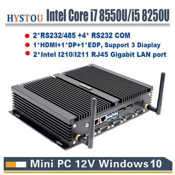Core i7 8550U RS232/485 COM industrial mini pc i5 8250U 2 intel NUC Lan HDMI DP EDP LPT SIM Quad Core 8th gen Fanless computer