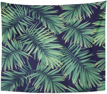 Tropic Dark Tropical Pattern Exotic Plants Green Phoenix Palm Tapestry Home Decor Wall Hanging for Living Room Bedroom Dorm 50in image