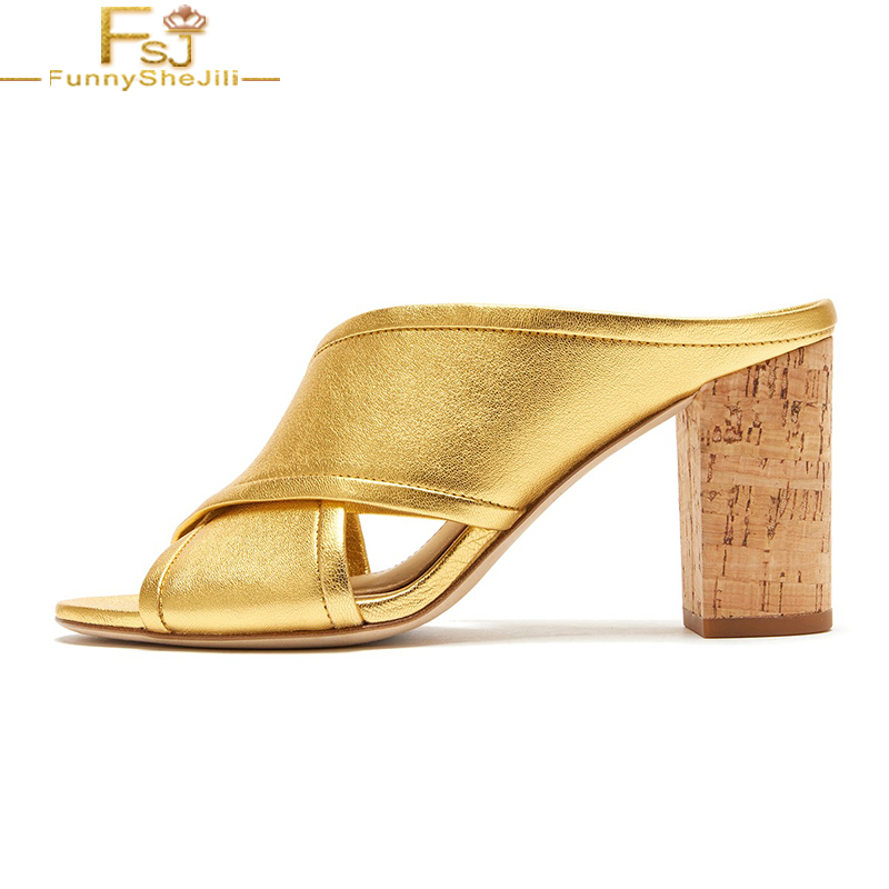 Gold Peep Toe <font><b>High</b></font> Chunky <font><b>Heels</b></font> <font><b>Slippers</b></font> Mules Summer Ladies Outside Fashion <font><b>Sexy</b></font> Cross Upper <font><b>Woman</b></font> <font><b>Shoes</b></font> Large Size 12 16 FSJ image
