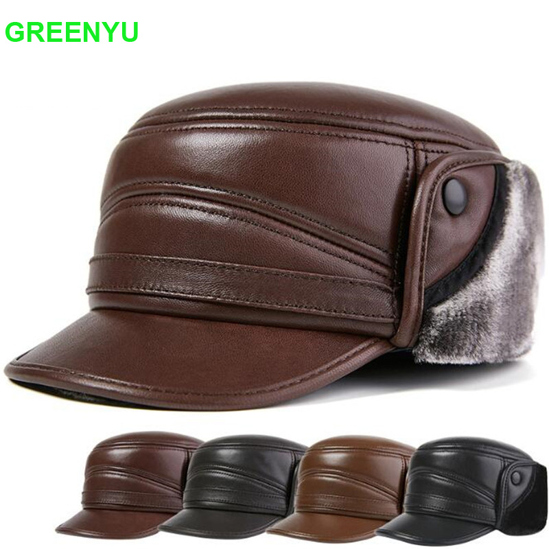 Leather Cap Leather Hat 57-58cm Mens Autumn and Winter Cotton Cap Plus Velvet Thickening,Brown//A,XL