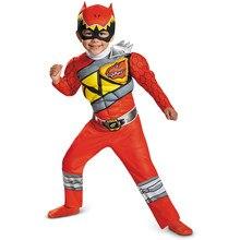 Kırmızı güç Dino şarj erkek kas kostüm çocuk
