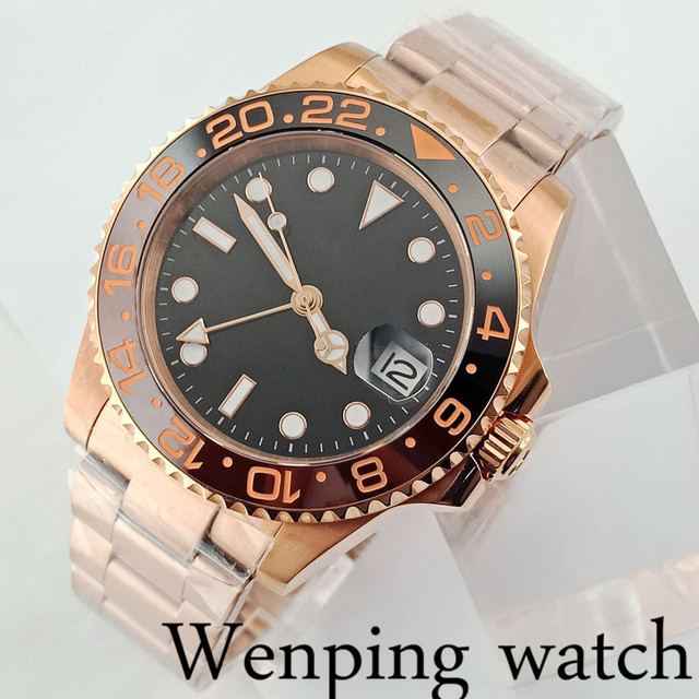40mm rose gold case sapphire glass ceramic bezel black dial date GMT automatic mens luxury mechanical watch