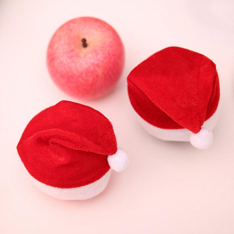 Christmas Apple Caps Mini Wine Bottle Santa Claus Hat Party Dinner Table Decoration Christmas Decoration