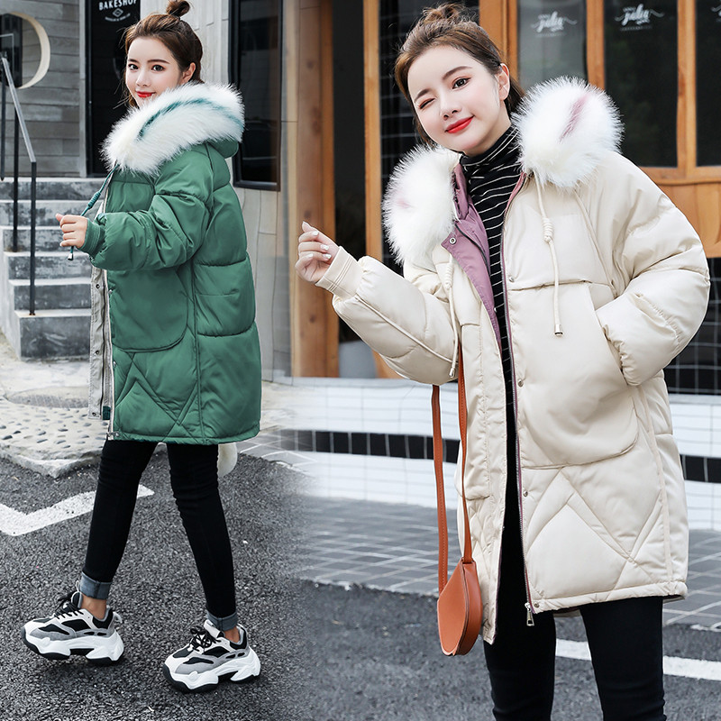 2019 Fur Hooded   Parka   Female Jacket Coat Plus Size Winter Jacket Women Casual Thick Down Cotton Mid-Long Padded   Parkas   Coat A988