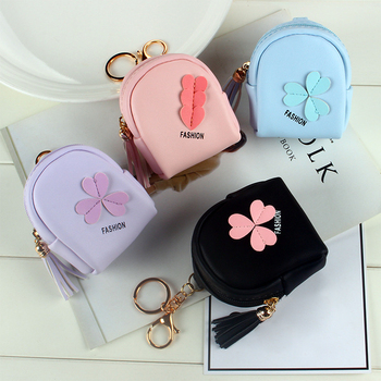 Pink Flower Small Bag Women PU Leather Coin Purses Fashion Jelly Handbag Girls Card Holder For Kids Keychain