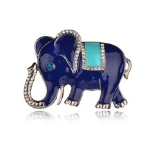 New Fine Silver Plated Elephant Brooch Pins Rhinestone Brooches For Women Jewelry Fashion Suit Accessories