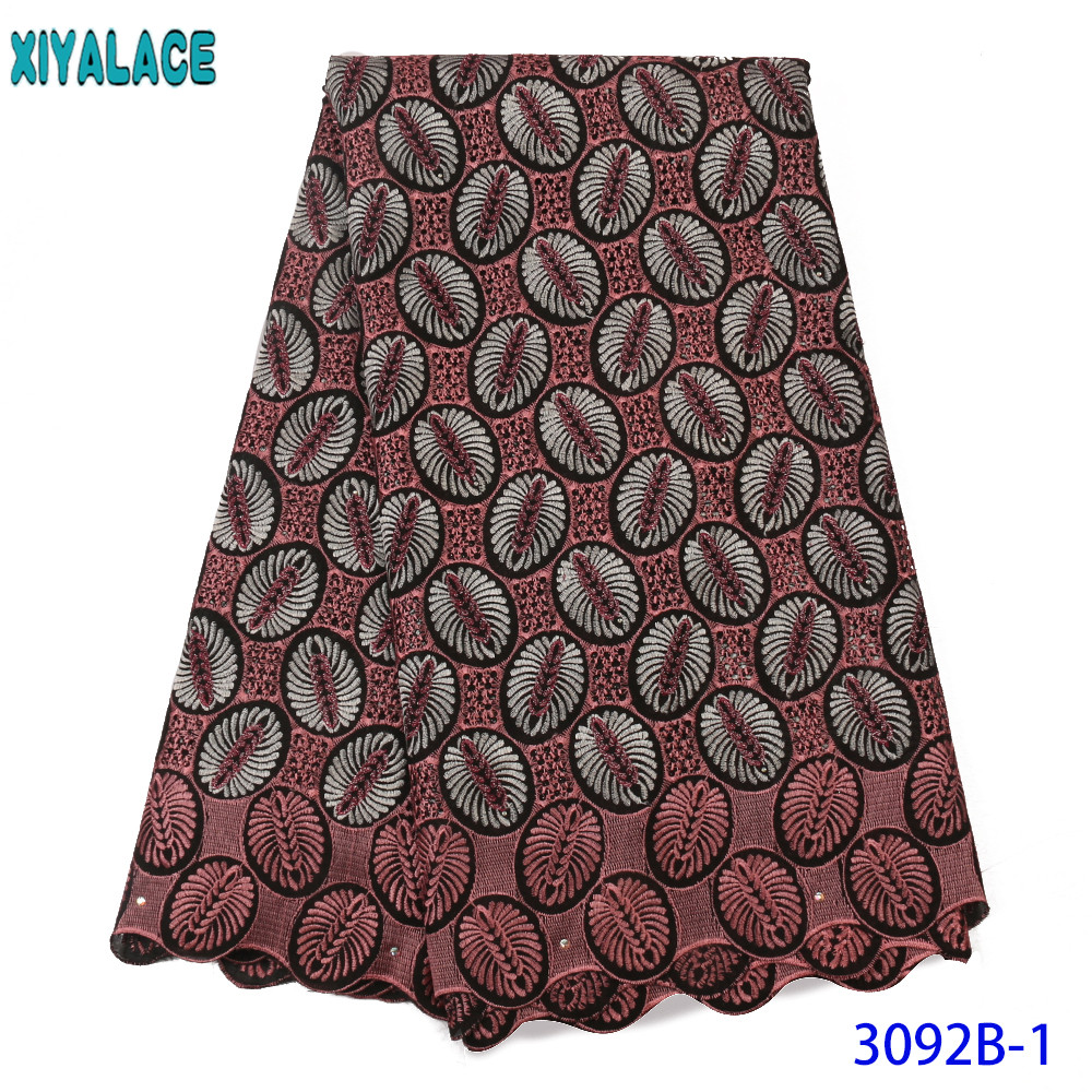 Nigerian Voile Lace In Switzerland High Quality African Cotton Lace Fabric Stoned Holes For Dress SewingKS3092B