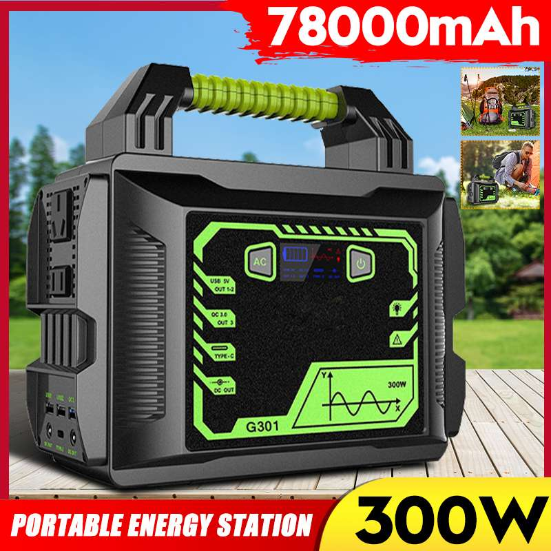 300W EU/US/<font><b>AU</b></font> Stecker Home Tragbare <font><b>Solar</b></font> Generator Inverter Energie Lagerung UPS Power Station Outdoor Camping power Generator image